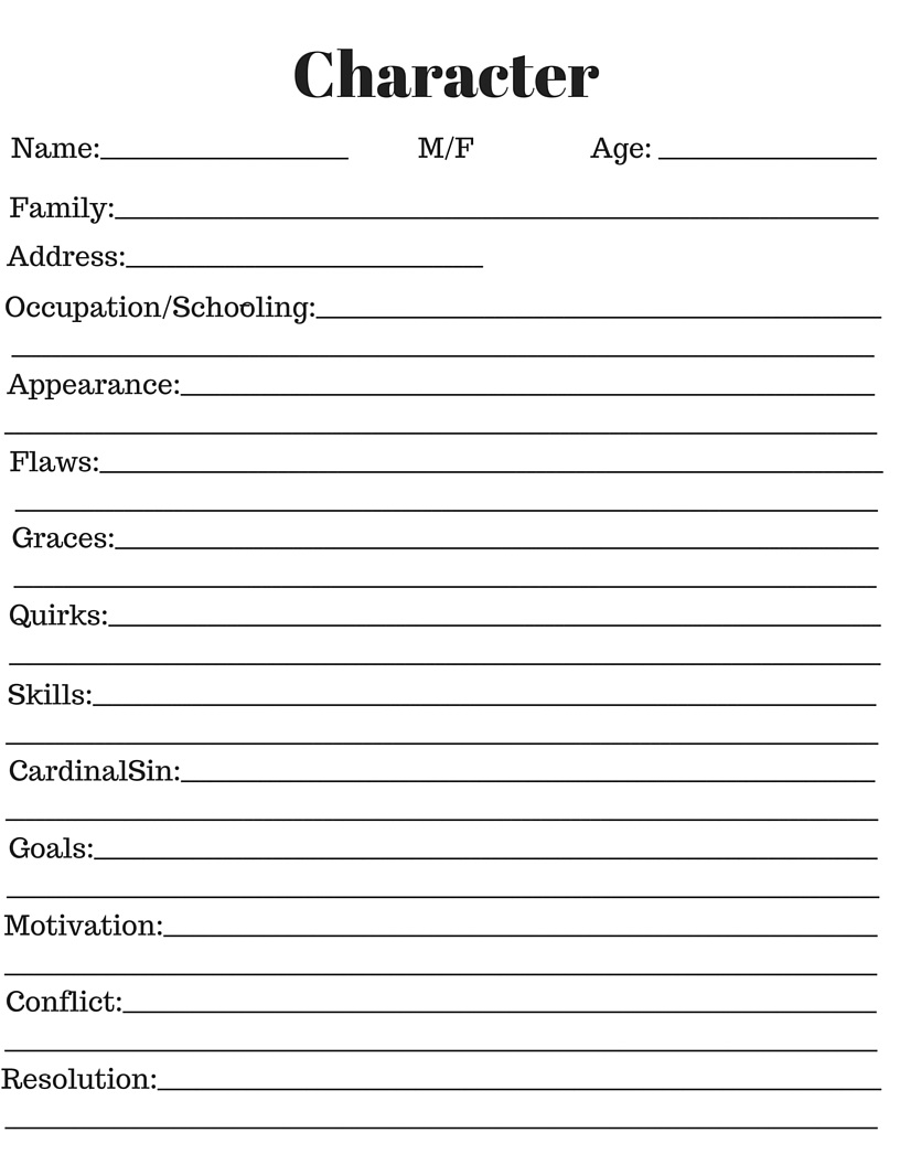 Character information sheet - Character development sheet 1